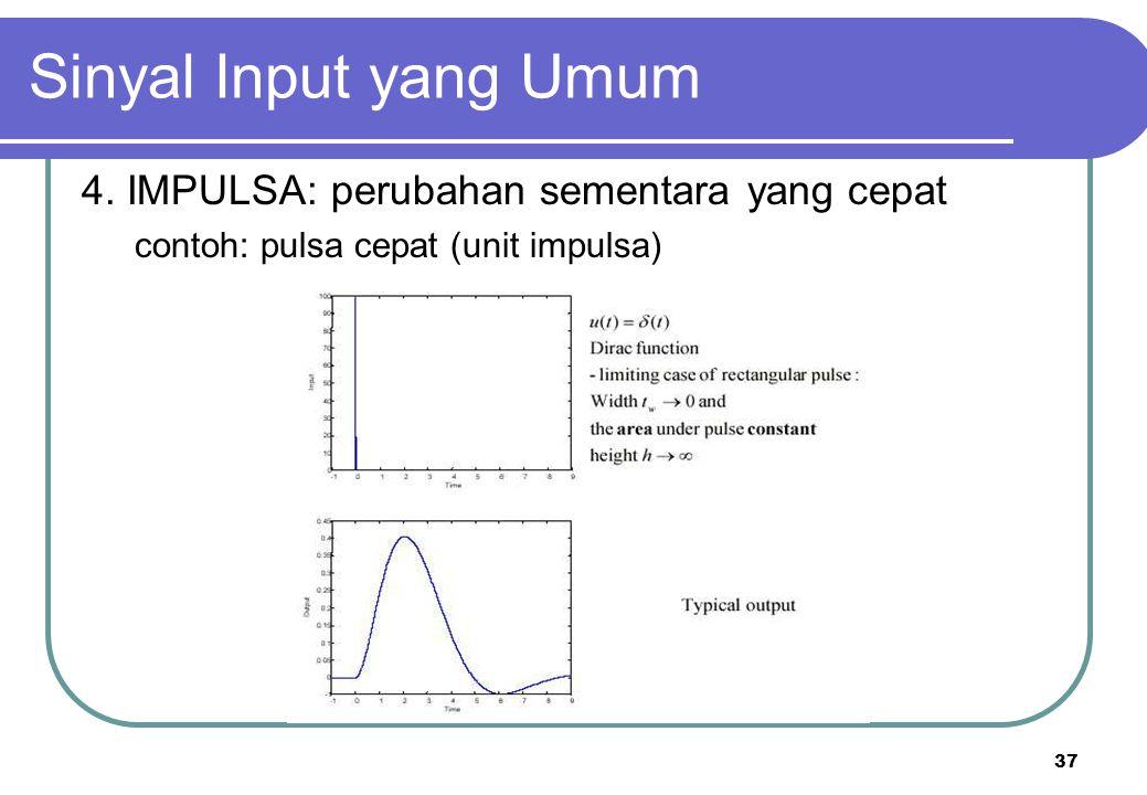 37 4. IMPULSA: perubahan sementara yang cepat contoh: pulsa cepat (unit impulsa) Sinyal Input yang Umum
