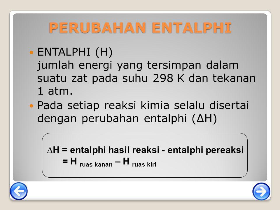 PERUBAHAN ENTALPHI ENTALPHI (H) jumlah energi yang tersimpan dalam suatu zat pada suhu 298 K dan tekanan 1 atm. Pada setiap reaksi kimia selalu disert