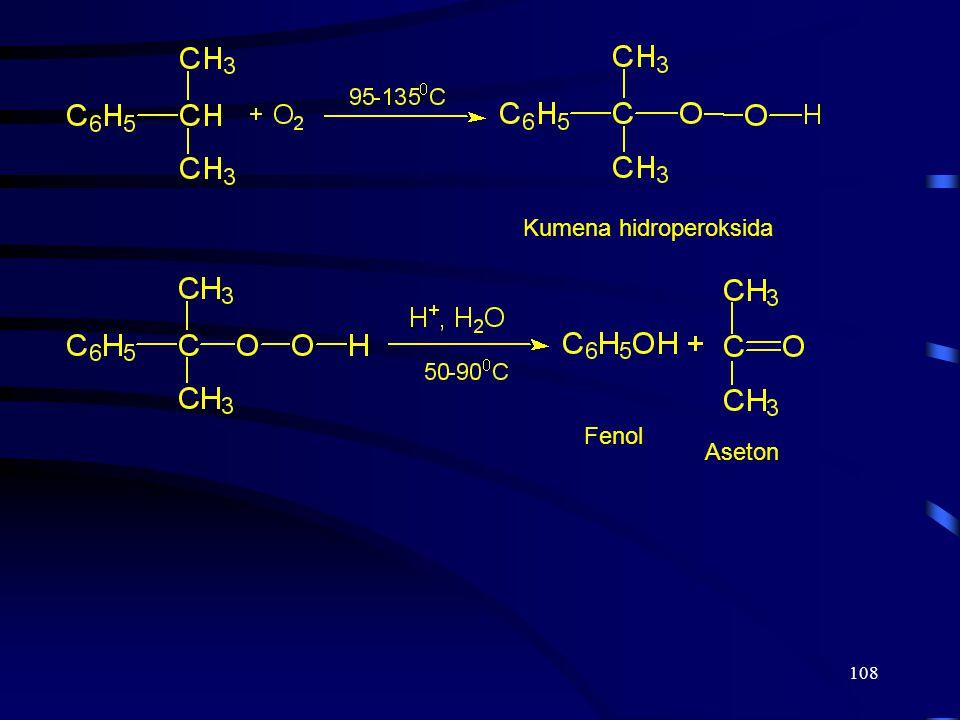 108 Kumena hidroperoksida Fenol Aseton