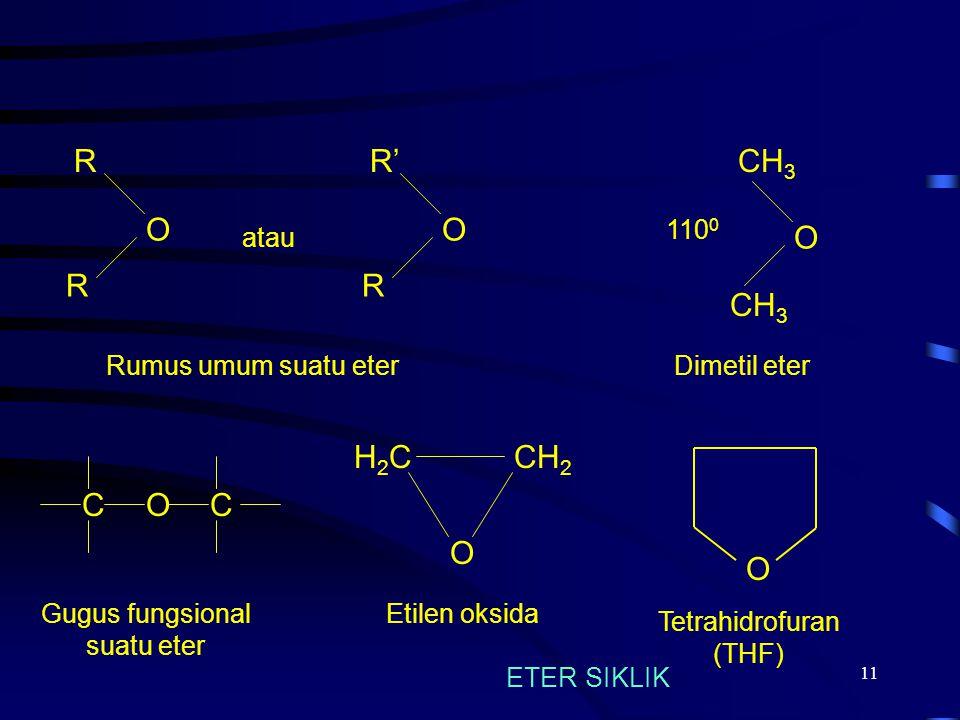 11 COC Gugus fungsional suatu eter R O R O 110 0 Dimetil eterRumus umum suatu eter CH 3 atau R' O R CH 2 H2CH2C O Etilen oksida O Tetrahidrofuran (THF