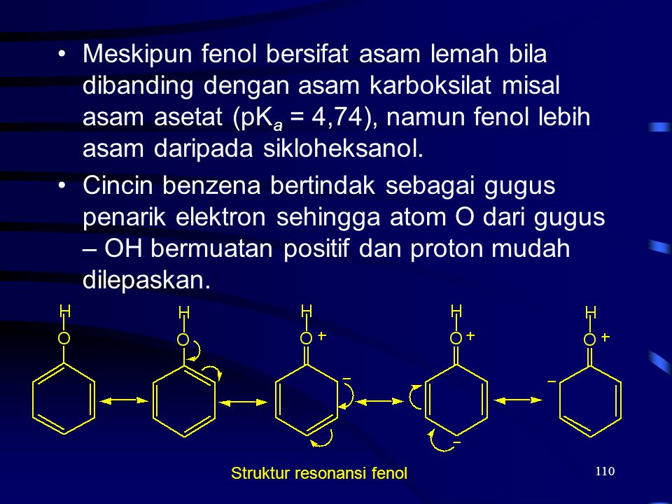 110 Meskipun fenol bersifat asam lemah bila dibanding dengan asam karboksilat misal asam asetat (pK a = 4,74), namun fenol lebih asam daripada siklohe