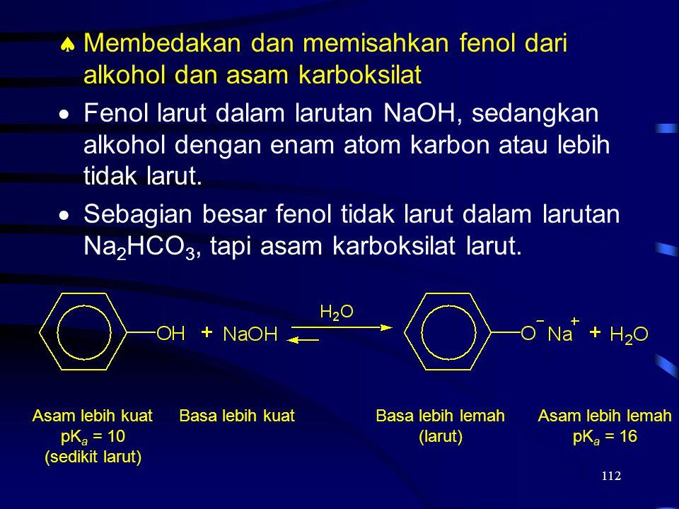 112  Membedakan dan memisahkan fenol dari alkohol dan asam karboksilat  Fenol larut dalam larutan NaOH, sedangkan alkohol dengan enam atom karbon at
