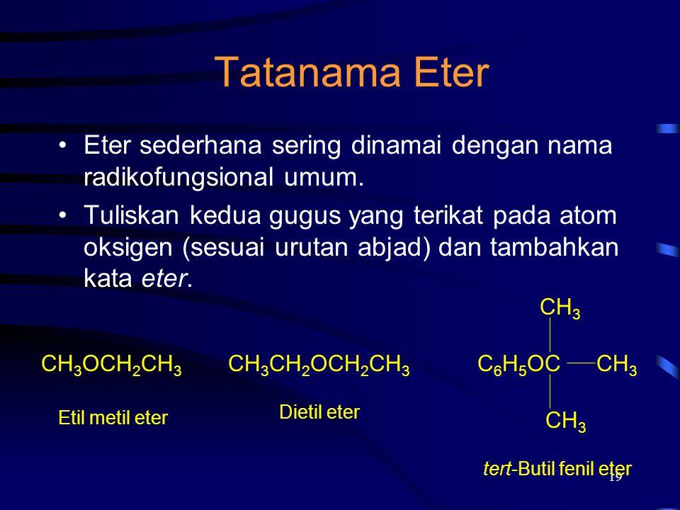 19 Tatanama Eter Eter sederhana sering dinamai dengan nama radikofungsional umum. Tuliskan kedua gugus yang terikat pada atom oksigen (sesuai urutan a