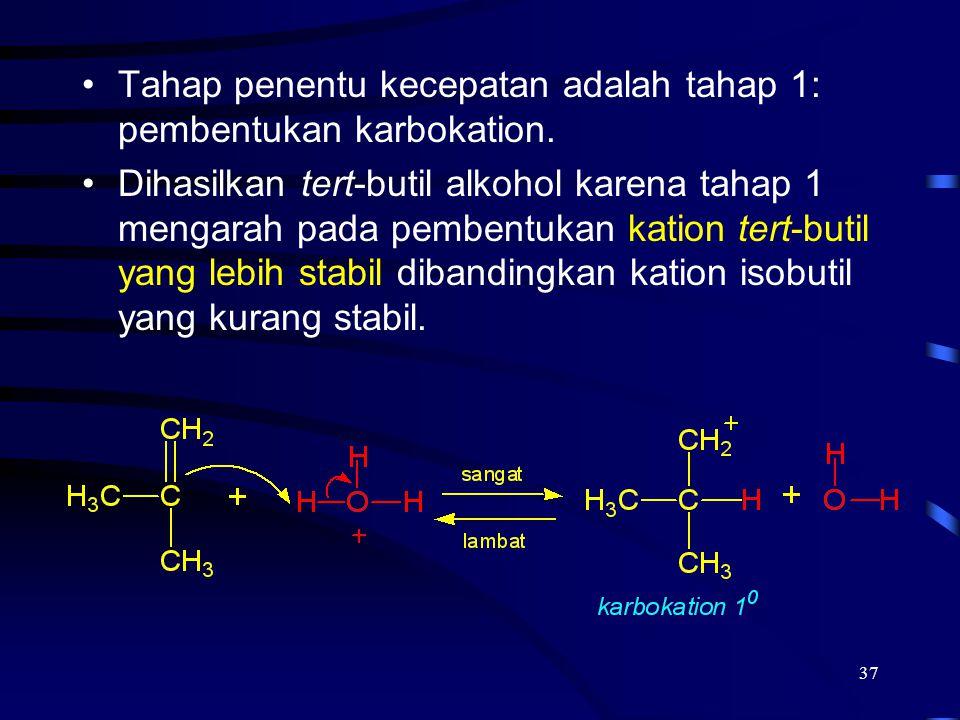 37 Tahap penentu kecepatan adalah tahap 1: pembentukan karbokation. Dihasilkan tert-butil alkohol karena tahap 1 mengarah pada pembentukan kation tert