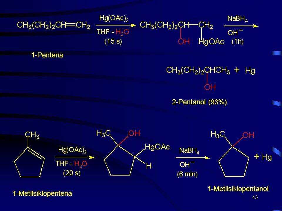 43 1-Pentena 2-Pentanol (93%) 1-Metilsiklopentena 1-Metilsiklopentanol