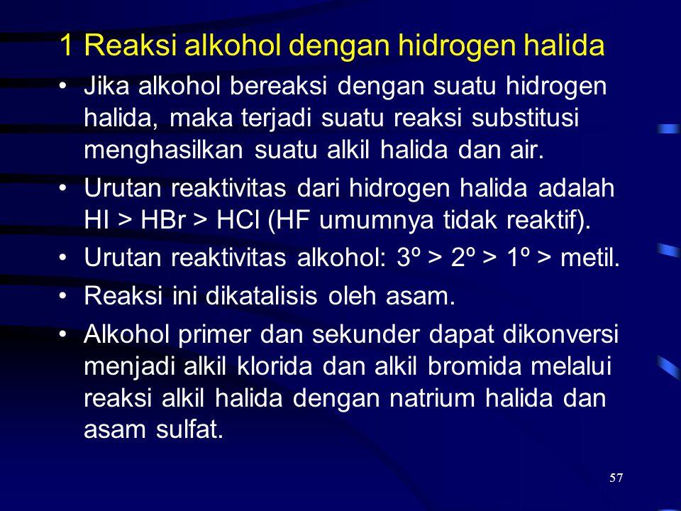 57 1Reaksi alkohol dengan hidrogen halida Jika alkohol bereaksi dengan suatu hidrogen halida, maka terjadi suatu reaksi substitusi menghasilkan suatu