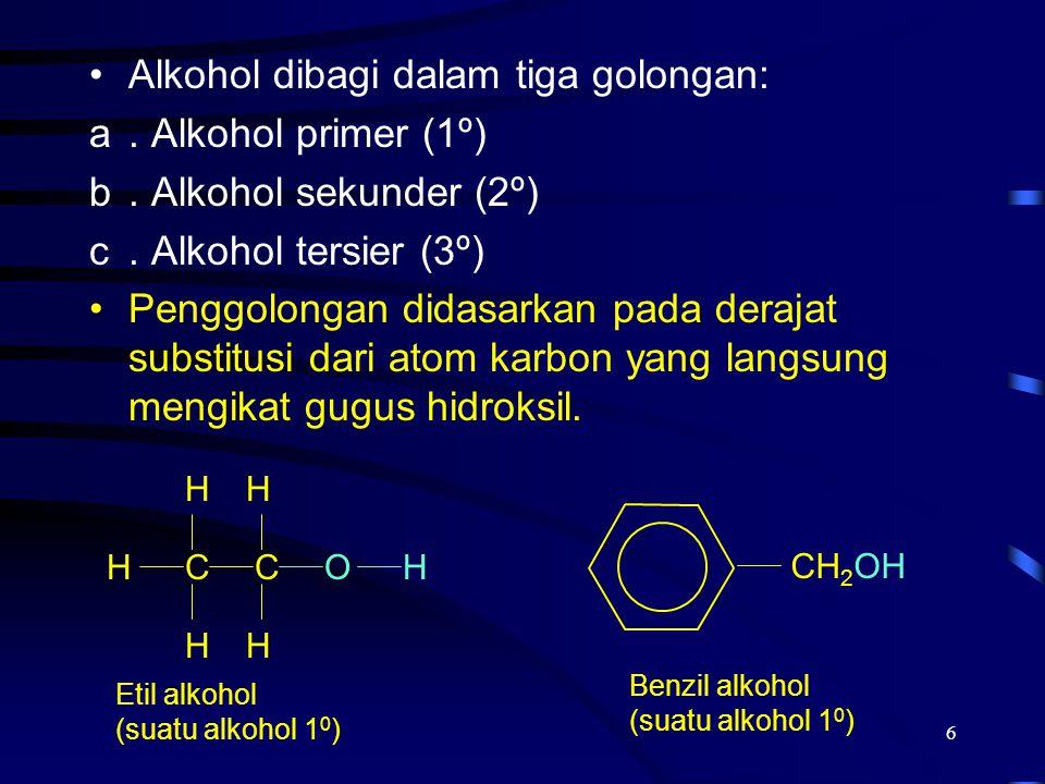 6 Alkohol dibagi dalam tiga golongan: a. Alkohol primer (1º) b. Alkohol sekunder (2º) c. Alkohol tersier (3º) Penggolongan didasarkan pada derajat sub
