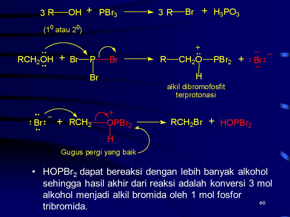 60 HOPBr 2 dapat bereaksi dengan lebih banyak alkohol sehingga hasil akhir dari reaksi adalah konversi 3 mol alkohol menjadi alkil bromida oleh 1 mol