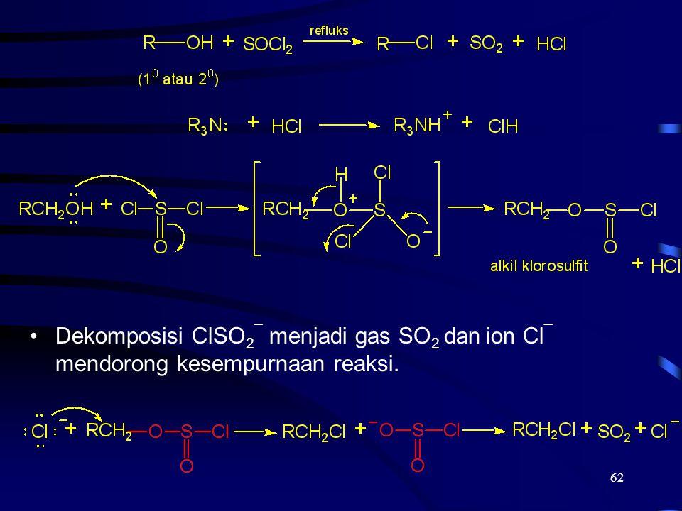 62 Dekomposisi ClSO 2 ¯ menjadi gas SO 2 dan ion Cl ¯ mendorong kesempurnaan reaksi.