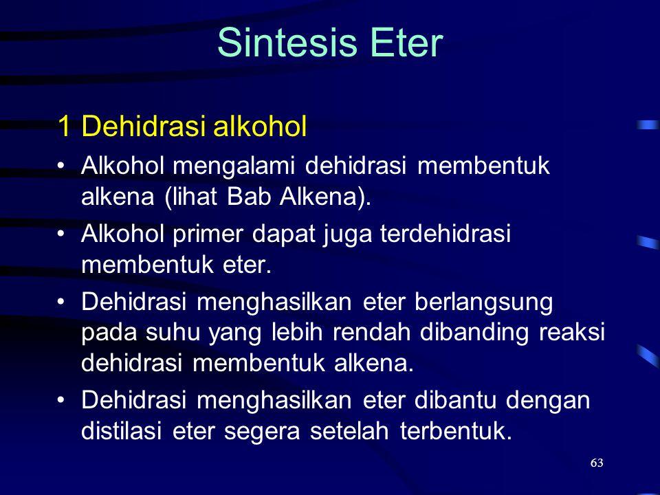 63 1Dehidrasi alkohol Alkohol mengalami dehidrasi membentuk alkena (lihat Bab Alkena). Alkohol primer dapat juga terdehidrasi membentuk eter. Dehidras
