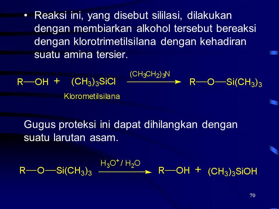 70 Reaksi ini, yang disebut sililasi, dilakukan dengan membiarkan alkohol tersebut bereaksi dengan klorotrimetilsilana dengan kehadiran suatu amina te