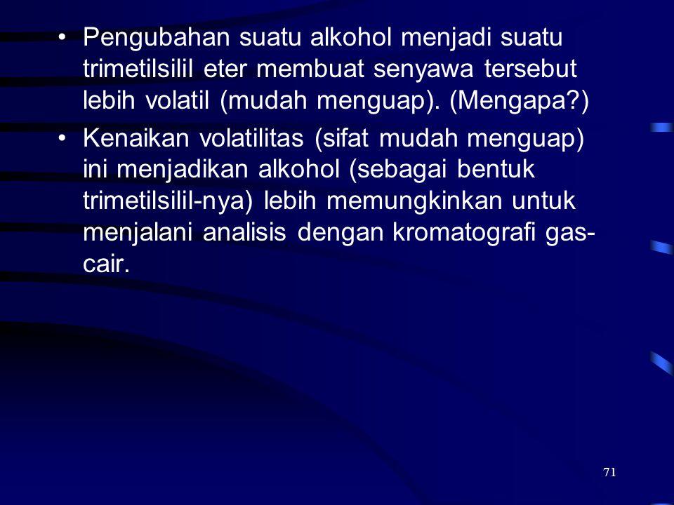 71 Pengubahan suatu alkohol menjadi suatu trimetilsilil eter membuat senyawa tersebut lebih volatil (mudah menguap). (Mengapa?) Kenaikan volatilitas (