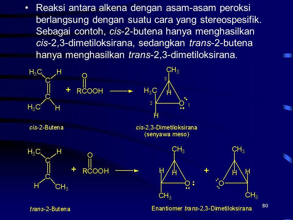 80 Reaksi antara alkena dengan asam-asam peroksi berlangsung dengan suatu cara yang stereospesifik. Sebagai contoh, cis-2-butena hanya menghasilkan ci