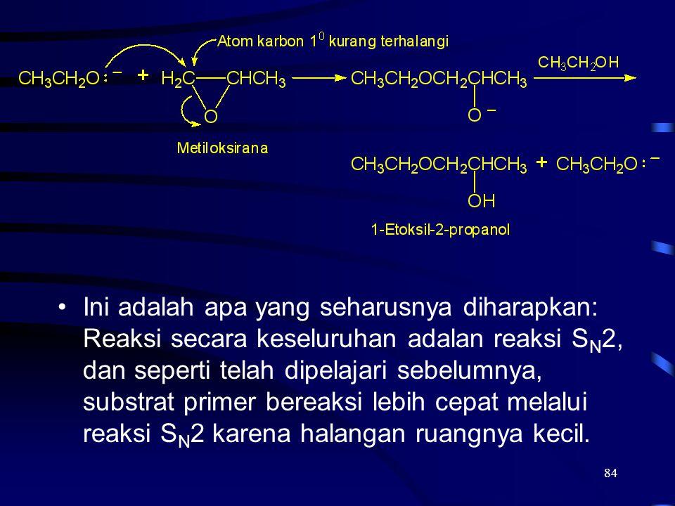 84 Ini adalah apa yang seharusnya diharapkan: Reaksi secara keseluruhan adalan reaksi S N 2, dan seperti telah dipelajari sebelumnya, substrat primer