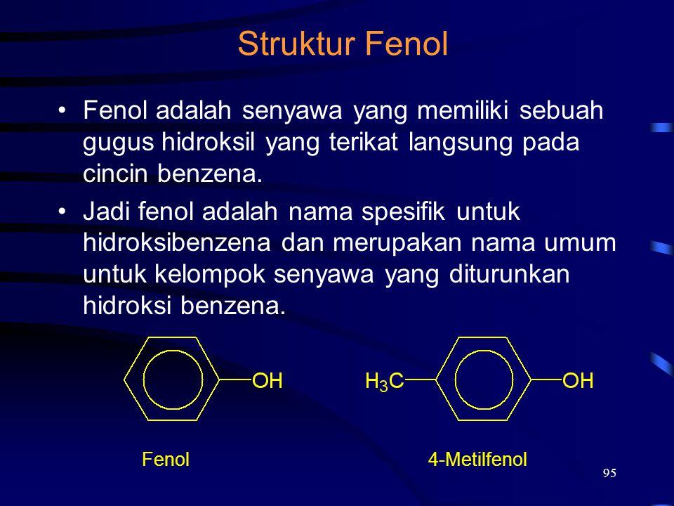 95 Struktur Fenol Fenol adalah senyawa yang memiliki sebuah gugus hidroksil yang terikat langsung pada cincin benzena. Jadi fenol adalah nama spesifik