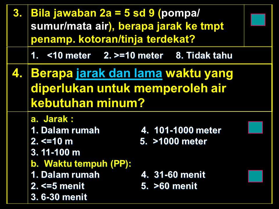 3.Bila jawaban 2a = 5 sd 9 (pompa/ sumur/mata air), berapa jarak ke tmpt penamp. kotoran/tinja terdekat? 1. =10 meter 8. Tidak tahu 4.4.Berapa jarak d