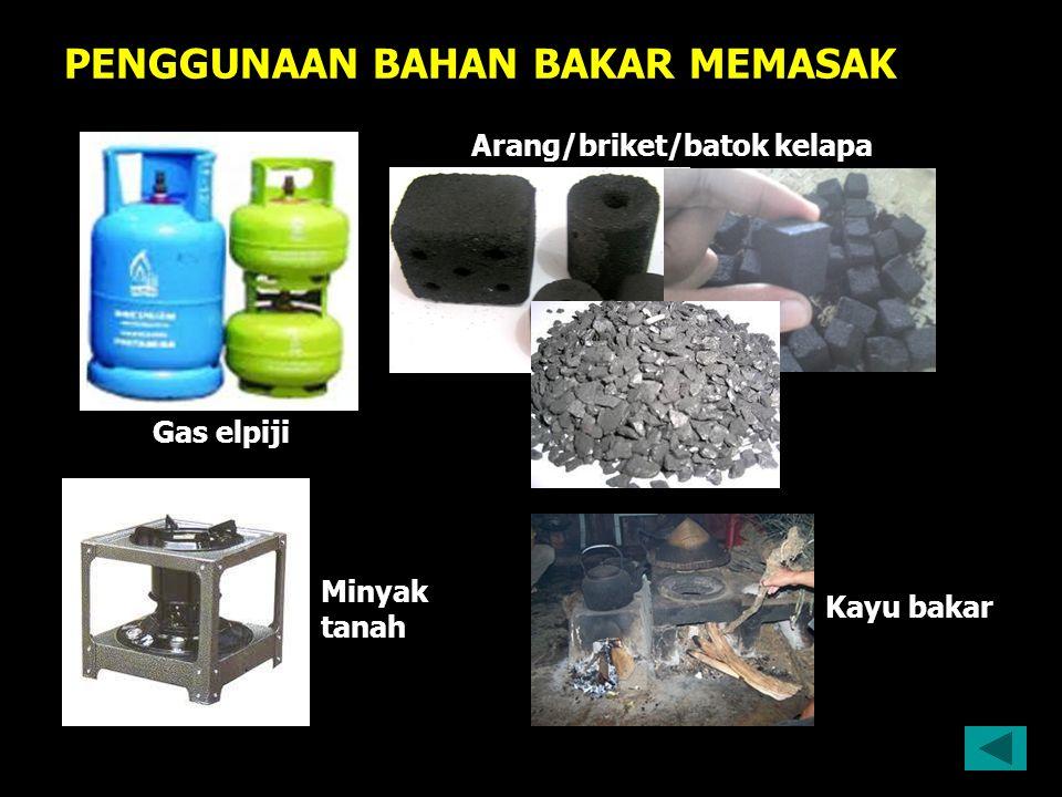 PENGGUNAAN BAHAN BAKAR MEMASAK Gas elpiji Arang/briket/batok kelapa Kayu bakar Minyak tanah