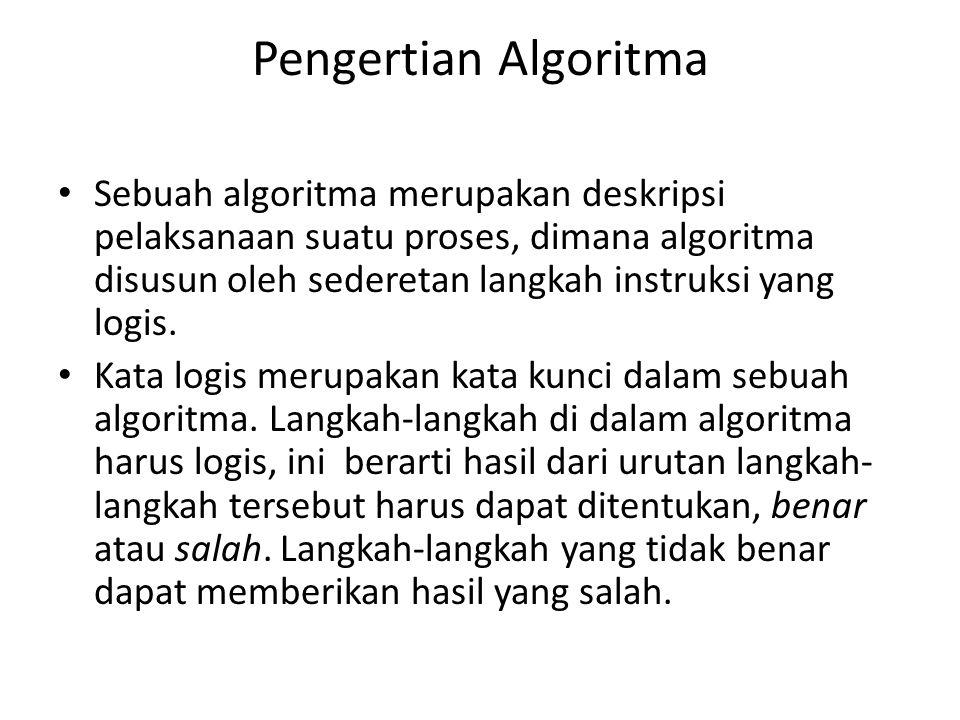Pengertian Algoritma Sebuah algoritma merupakan deskripsi pelaksanaan suatu proses, dimana algoritma disusun oleh sederetan langkah instruksi yang log