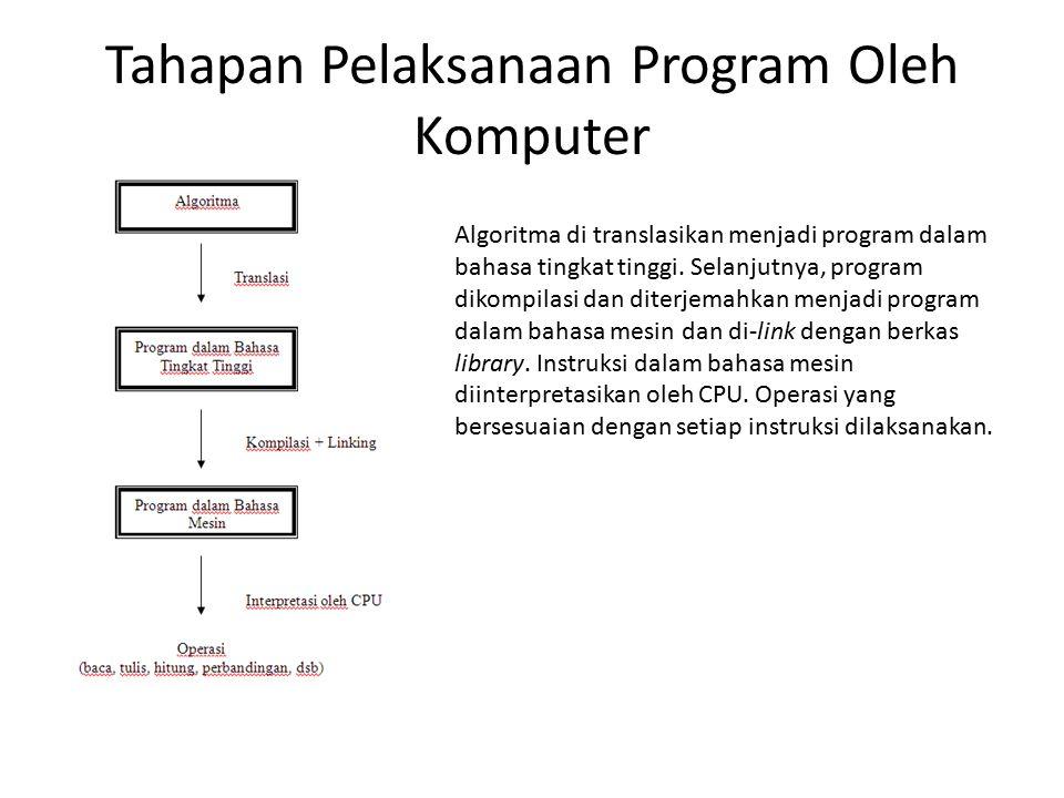 Tahapan Pelaksanaan Program Oleh Komputer Algoritma di translasikan menjadi program dalam bahasa tingkat tinggi. Selanjutnya, program dikompilasi dan