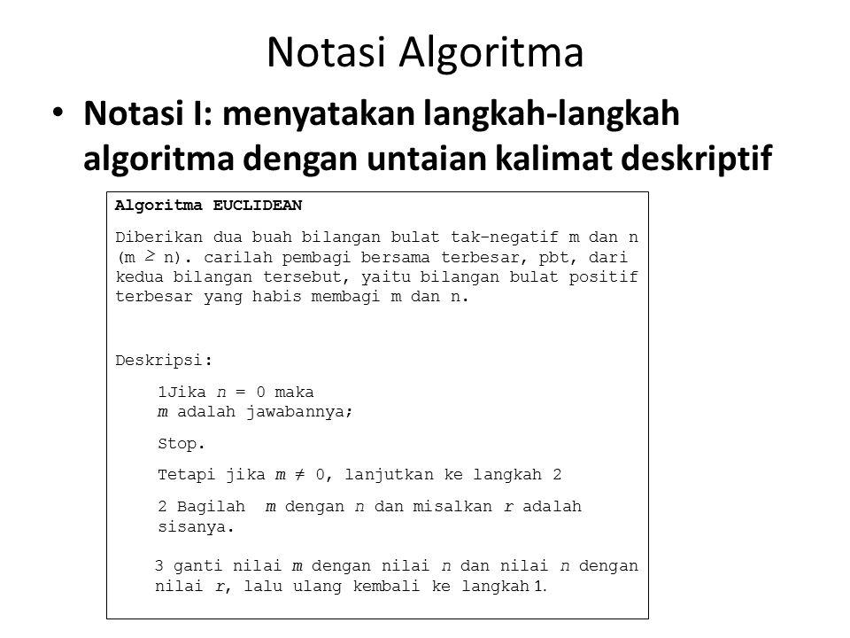 Notasi Algoritma Notasi I: menyatakan langkah-langkah algoritma dengan untaian kalimat deskriptif Algoritma EUCLIDEAN Diberikan dua buah bilangan bula
