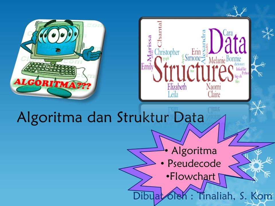 Algoritma dan Struktur Data Dibuat oleh : Tinaliah, S. Kom Algoritma Pseudecode Flowchart