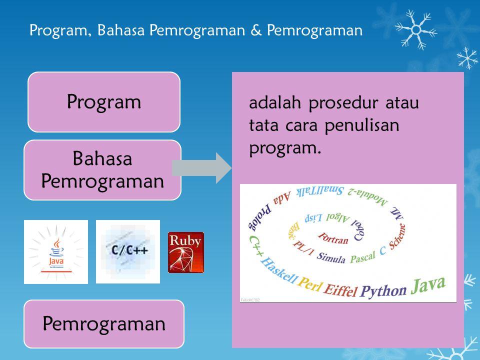 Program, Bahasa Pemrograman & Pemrograman Program Bahasa Pemrograman Pemrograman adalah proses mengimplementasikan urutan langkah untuk menyelesaikan suatu masalah dengan menggunakan suatu bahasa pemrograman.