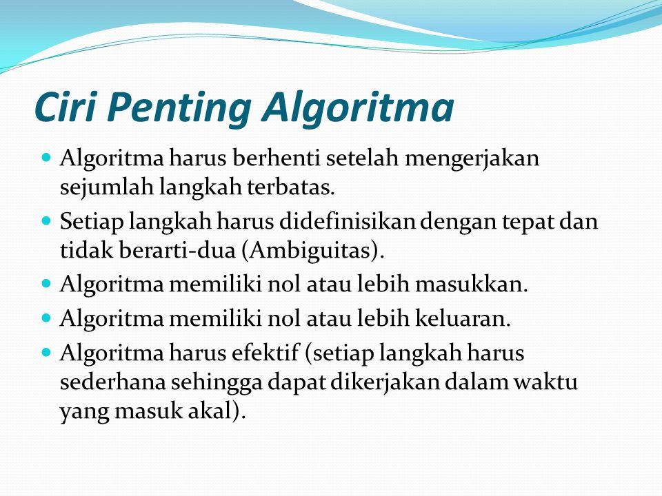 Ciri Penting Algoritma Algoritma harus berhenti setelah mengerjakan sejumlah langkah terbatas. Setiap langkah harus didefinisikan dengan tepat dan tid
