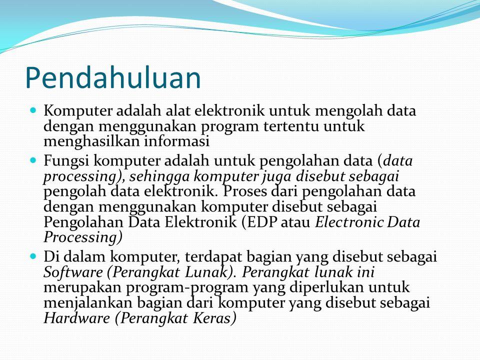 Pendahuluan Komputer adalah alat elektronik untuk mengolah data dengan menggunakan program tertentu untuk menghasilkan informasi Fungsi komputer adala