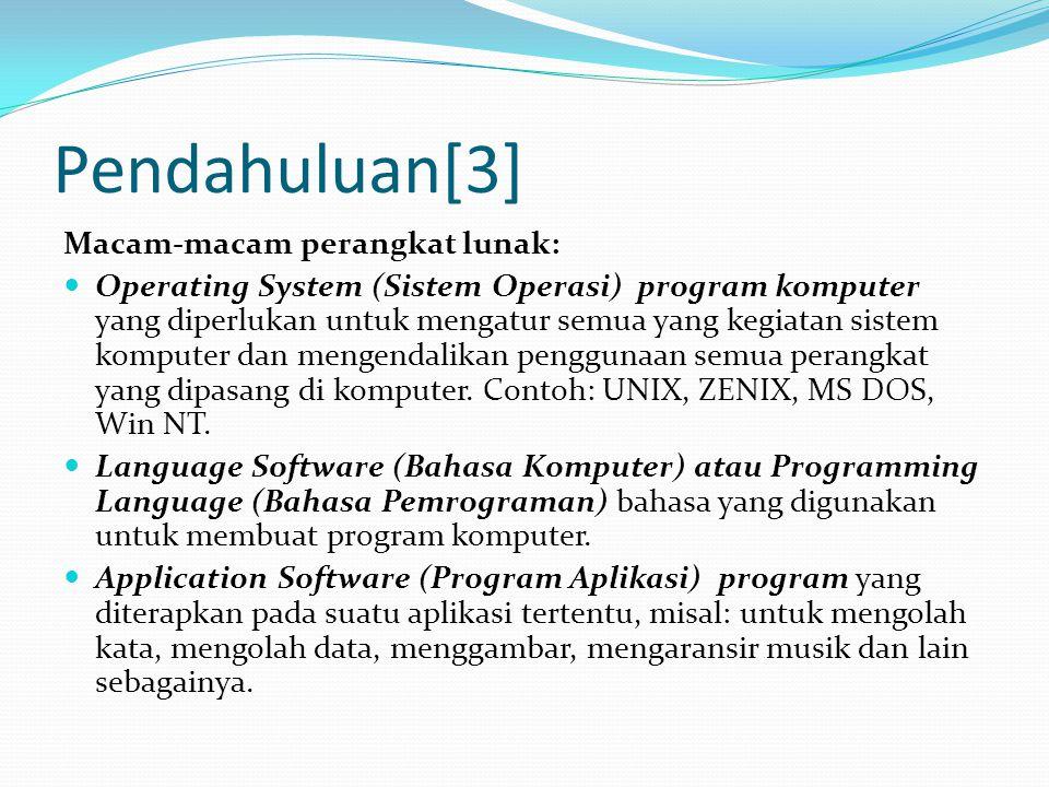 Pendahuluan[3] Macam-macam perangkat lunak: Operating System (Sistem Operasi) program komputer yang diperlukan untuk mengatur semua yang kegiatan sist
