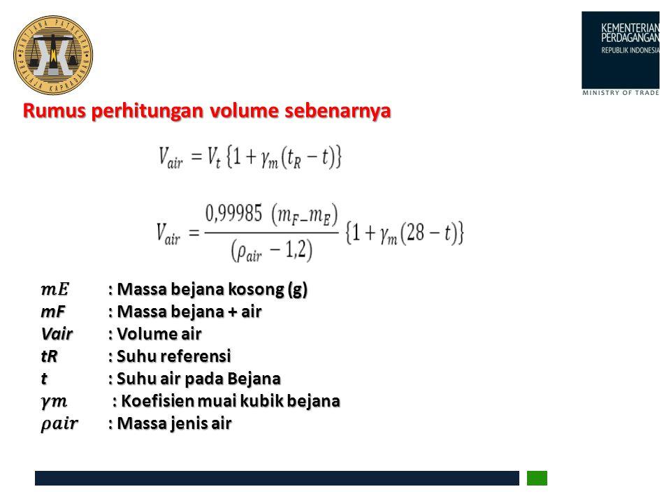 Rumus perhitungan volume sebenarnya : Massa bejana kosong (g) : Massa bejana kosong (g) mF : Massa bejana + air Vair : Volume air tR : Suhu referensi