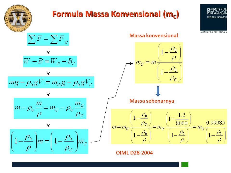 Formula Massa Konvensional (m C ) Massa konvensional Massa sebenarnya OIML D28-2004