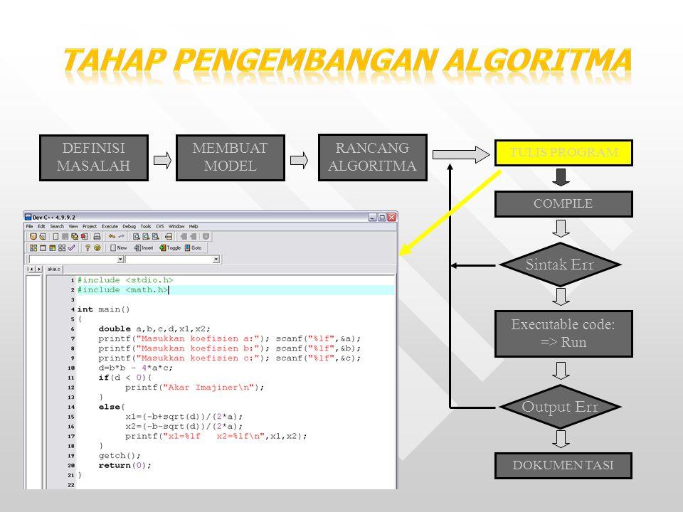 17 DEFINISI MASALAH MEMBUAT MODEL RANCANG ALGORITMA TULIS PROGRAM COMPILE Sintak Err Executable code: => Run Output Err DOKUMEN TASI