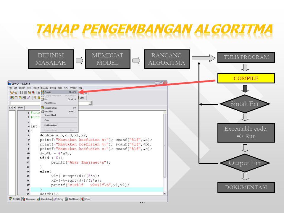 18 DEFINISI MASALAH MEMBUAT MODEL RANCANG ALGORITMA TULIS PROGRAM COMPILE Sintak Err Executable code: => Run Output Err DOKUMEN TASI