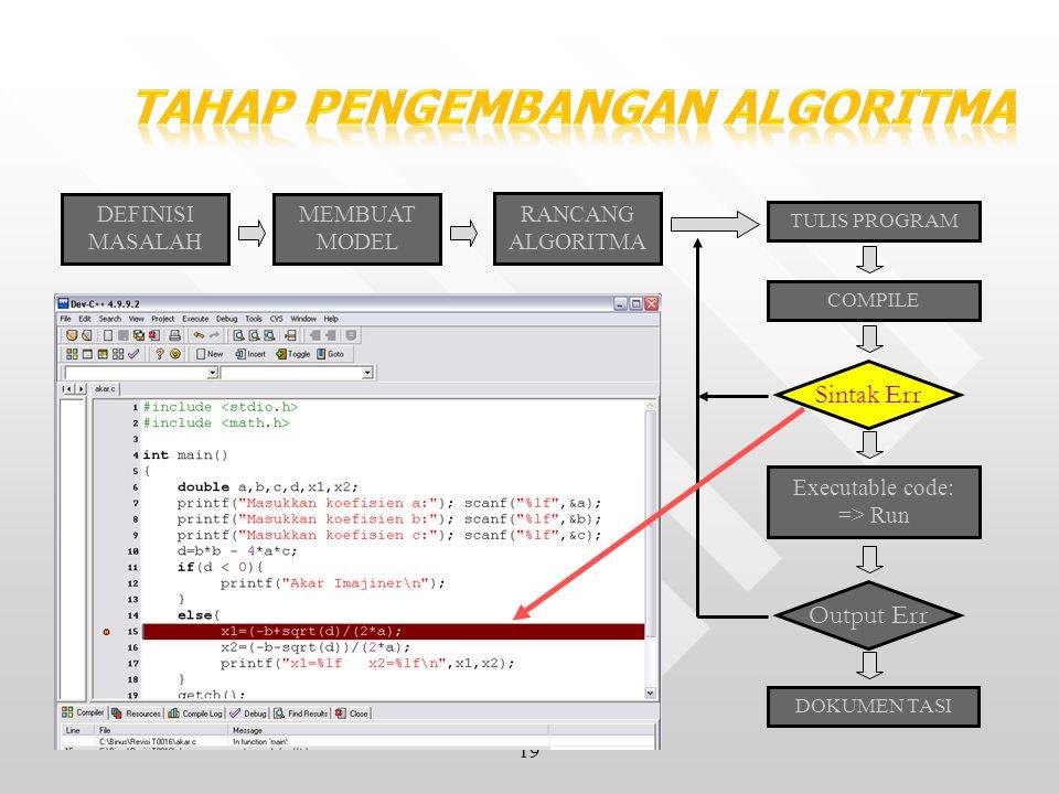 19 DEFINISI MASALAH MEMBUAT MODEL RANCANG ALGORITMA TULIS PROGRAM COMPILE Sintak Err Executable code: => Run Output Err DOKUMEN TASI