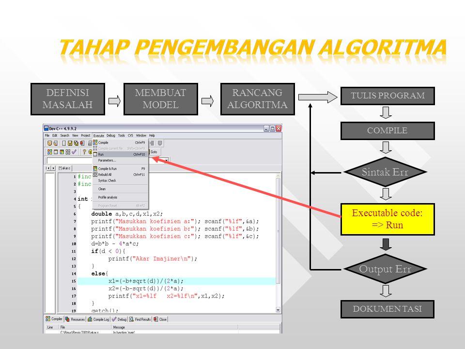 20 DEFINISI MASALAH MEMBUAT MODEL RANCANG ALGORITMA TULIS PROGRAM COMPILE Sintak Err Executable code: => Run Output Err DOKUMEN TASI