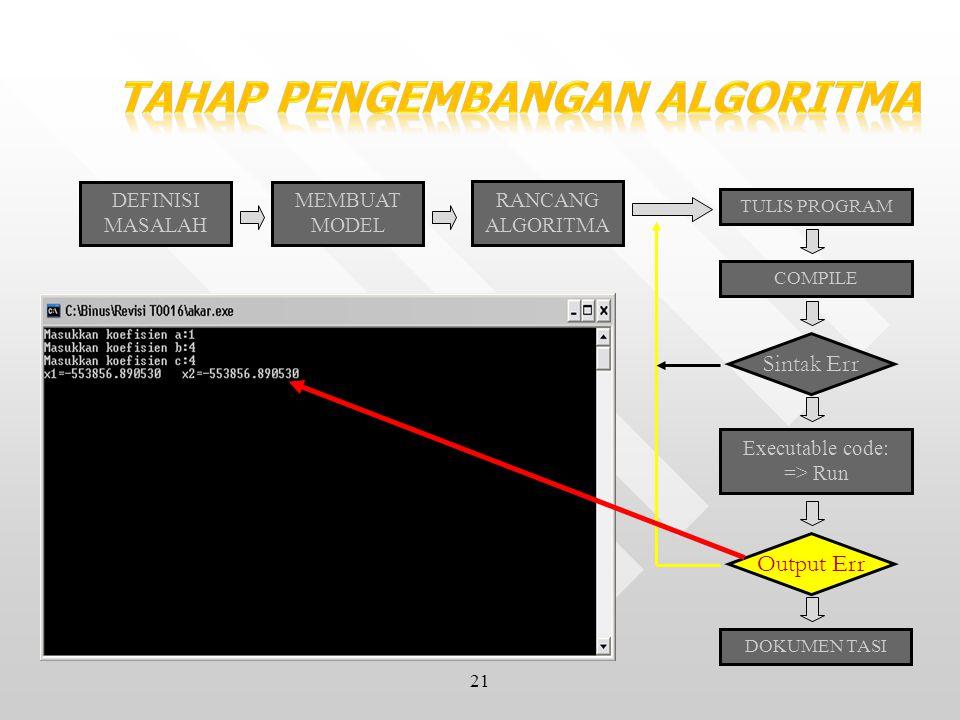 21 DEFINISI MASALAH MEMBUAT MODEL RANCANG ALGORITMA TULIS PROGRAM COMPILE Sintak Err Executable code: => Run Output Err DOKUMEN TASI