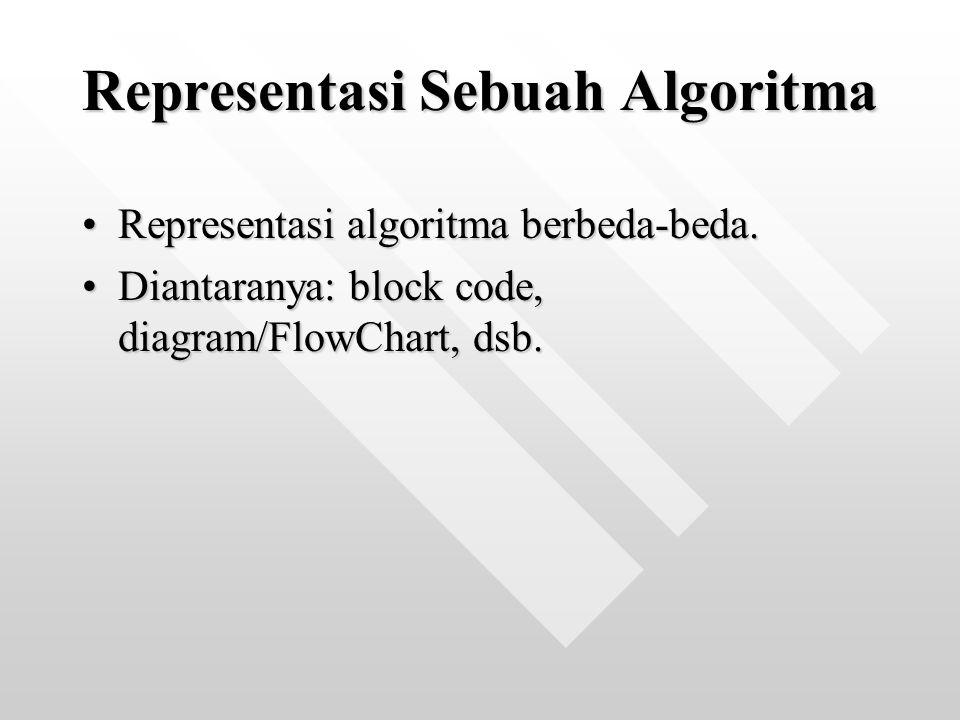 Representasi algoritma berbeda-beda.Representasi algoritma berbeda-beda. Diantaranya: block code, diagram/FlowChart, dsb.Diantaranya: block code, diag