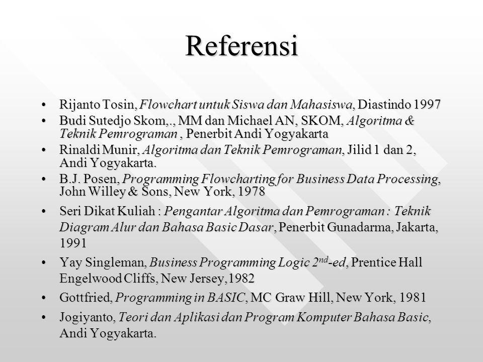 Referensi Rijanto Tosin, Flowchart untuk Siswa dan Mahasiswa, Diastindo 1997Rijanto Tosin, Flowchart untuk Siswa dan Mahasiswa, Diastindo 1997 Budi Su
