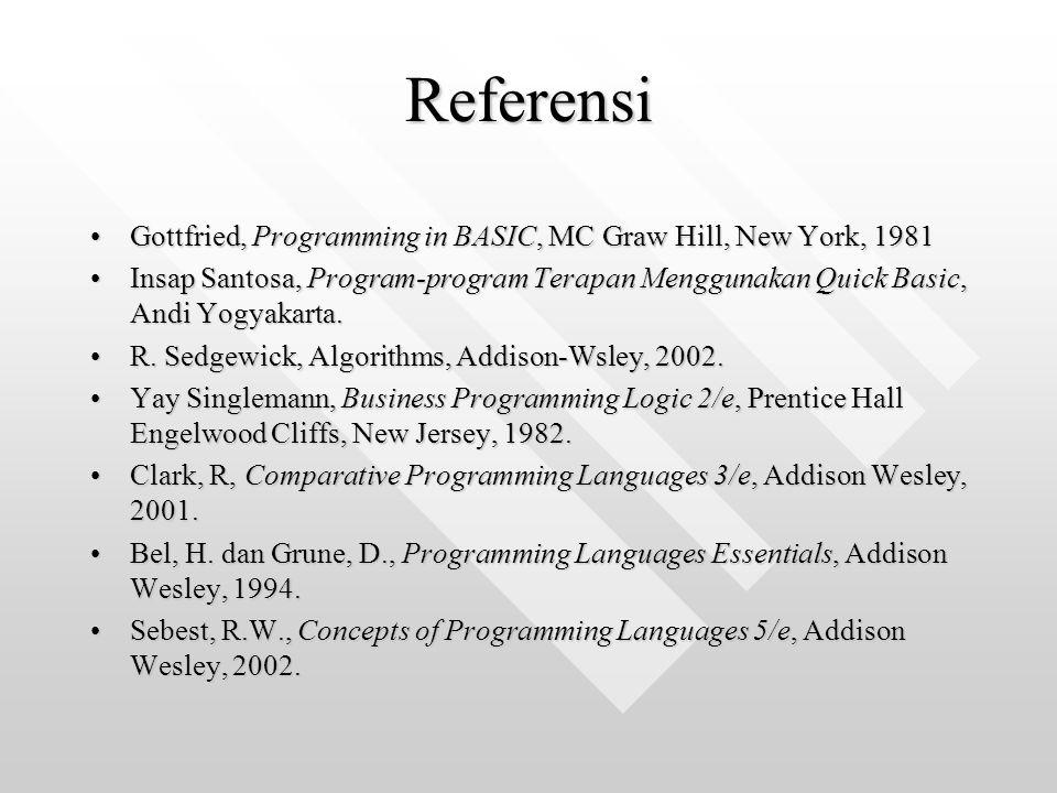 Referensi Gottfried, Programming in BASIC, MC Graw Hill, New York, 1981Gottfried, Programming in BASIC, MC Graw Hill, New York, 1981 Insap Santosa, Pr