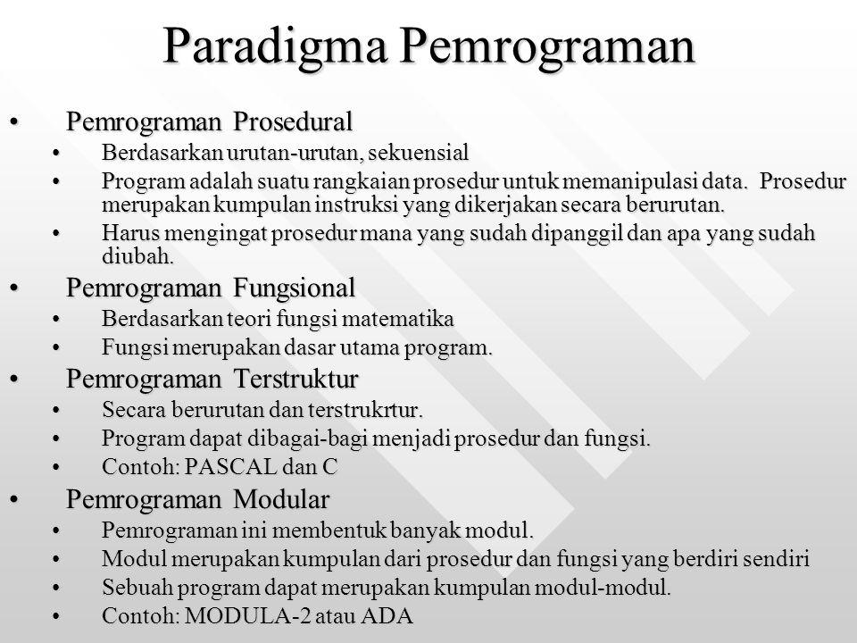Paradigma Pemrograman Pemrograman ProseduralPemrograman Prosedural Berdasarkan urutan-urutan, sekuensialBerdasarkan urutan-urutan, sekuensial Program