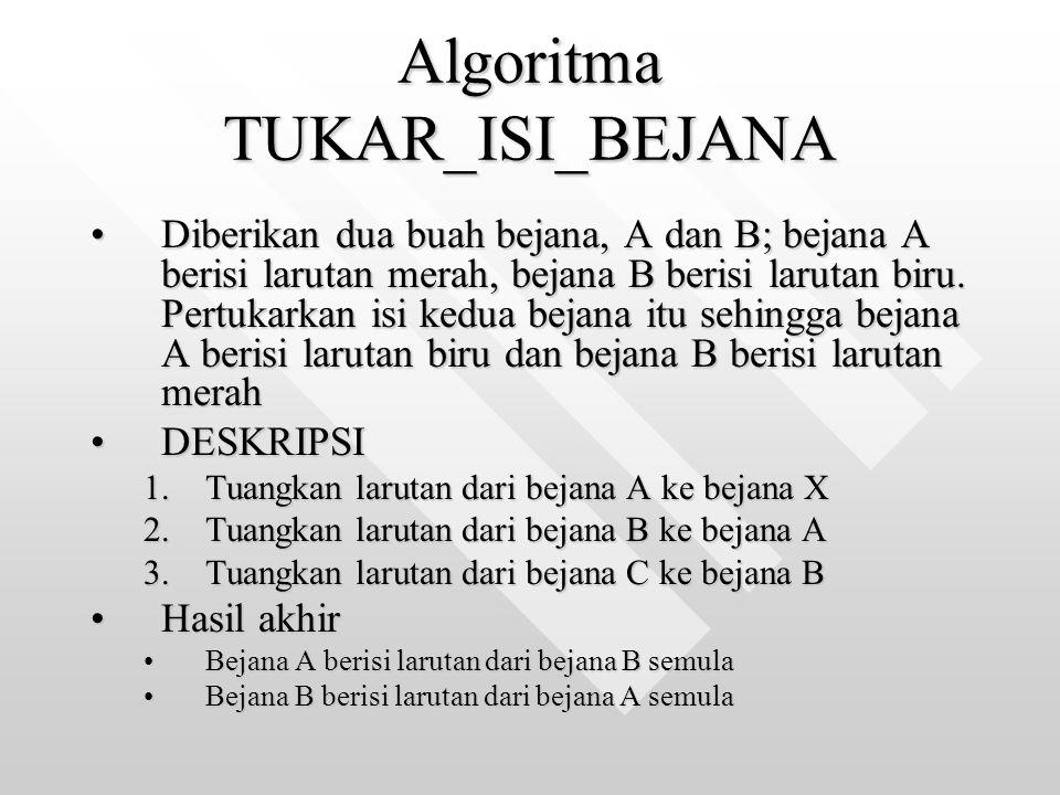 Algoritma TUKAR_ISI_BEJANA Diberikan dua buah bejana, A dan B; bejana A berisi larutan merah, bejana B berisi larutan biru. Pertukarkan isi kedua beja