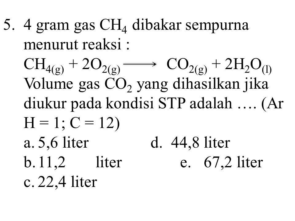 5.4 gram gas CH 4 dibakar sempurna menurut reaksi : CH 4(g) + 2O 2(g) CO 2(g) + 2H 2 O (l) Volume gas CO 2 yang dihasilkan jika diukur pada kondisi ST
