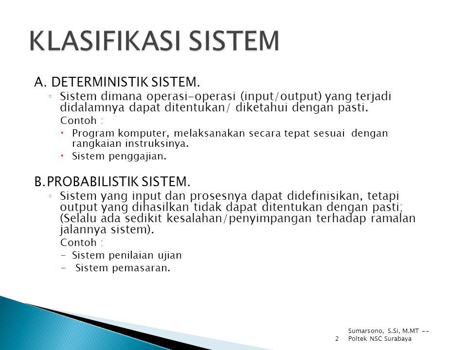 2 A. DETERMINISTIK SISTEM. ◦ Sistem dimana operasi-operasi (input/output) yang terjadi didalamnya dapat ditentukan/ diketahui dengan pasti. Contoh : 
