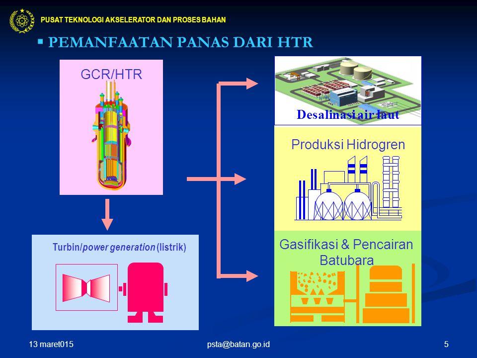 5 GCR/HTR Turbin/ power generation (listrik) Desalinasi air laut Produksi Hidrogren Gasifikasi & Pencairan Batubara  PEMANFAATAN PANAS DARI HTR PUSAT TEKNOLOGI AKSELERATOR DAN PROSES BAHAN 13 maret015 psta@batan.go.id
