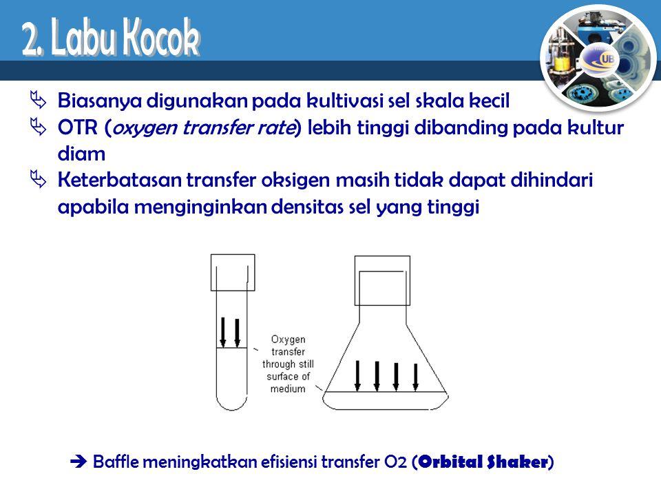  Biasanya digunakan pada kultivasi sel skala kecil  OTR (oxygen transfer rate) lebih tinggi dibanding pada kultur diam  Keterbatasan transfer oksig