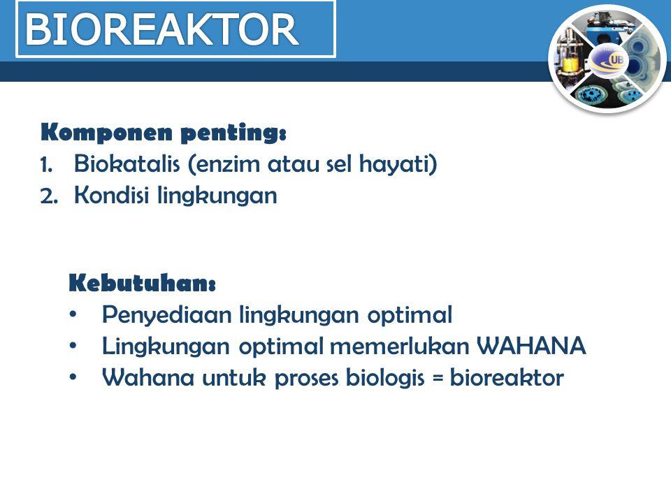 Komponen penting: 1.Biokatalis (enzim atau sel hayati) 2.Kondisi lingkungan Kebutuhan: Penyediaan lingkungan optimal Lingkungan optimal memerlukan WAH