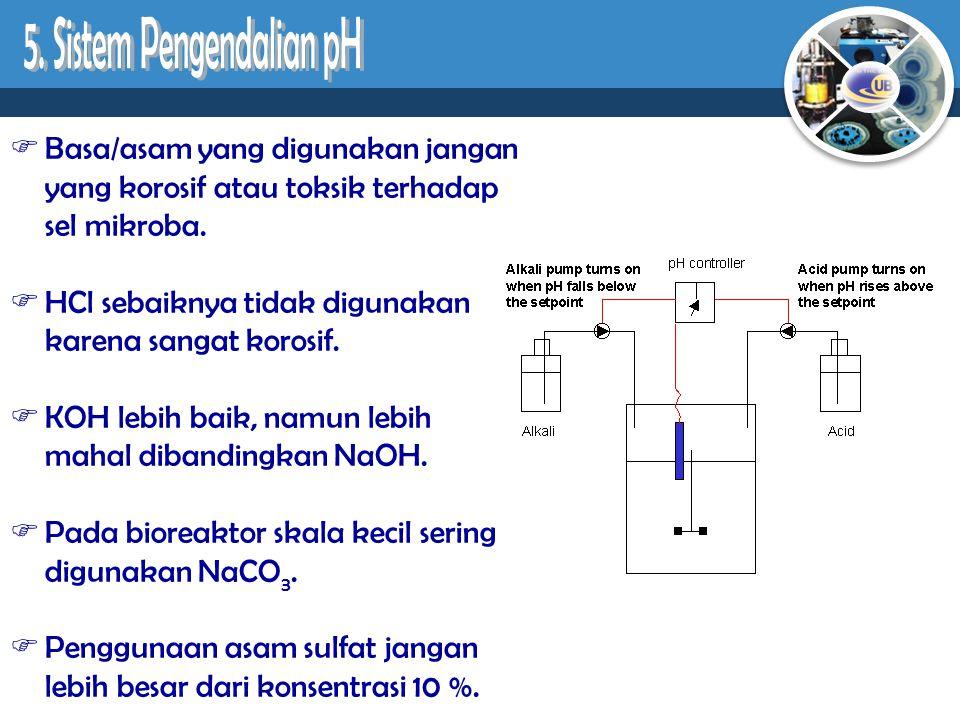  Basa/asam yang digunakan jangan yang korosif atau toksik terhadap sel mikroba.  HCl sebaiknya tidak digunakan karena sangat korosif.  KOH lebih ba