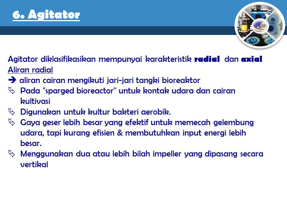 Agitator diklasifikasikan mempunyai karakteristik radial dan axial Aliran radial  aliran cairan mengikuti jari-jari tangki bioreaktor  Pada