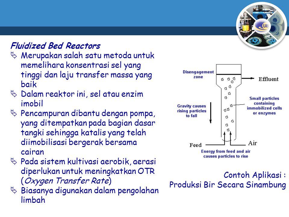 Fluidized Bed Reactors  Merupakan salah satu metoda untuk memelihara konsentrasi sel yang tinggi dan laju transfer massa yang baik  Dalam reaktor in
