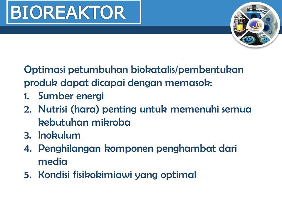 Optimasi petumbuhan biokatalis/pembentukan produk dapat dicapai dengan memasok: 1.Sumber energi 2.Nutrisi (hara) penting untuk memenuhi semua kebutuha